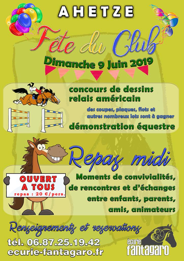 affiche de la fete du club equestre des ecuries fantagaro ahetze 9 juin 2019