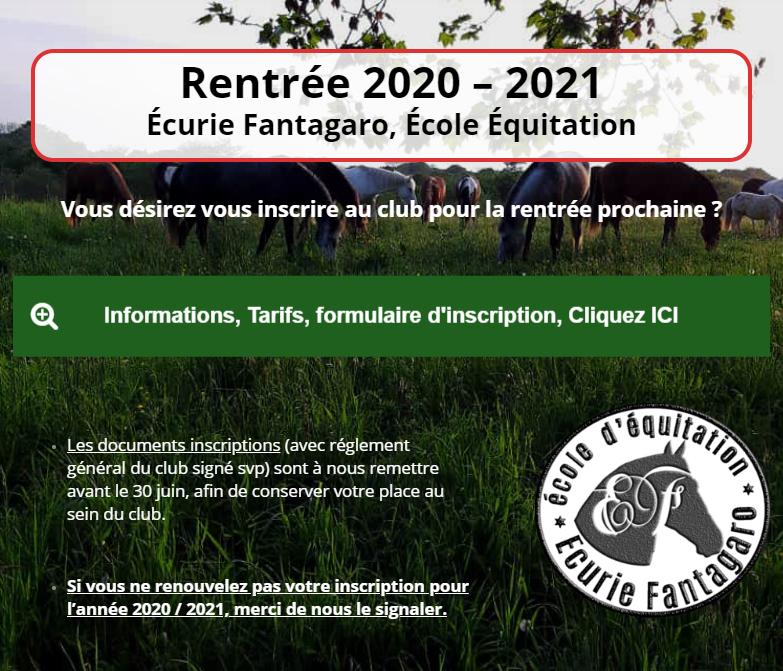inscription club ecurie fantagaro rentrée 2020 2021 - Bienvenue sur le site des Écuries Fantagaro, École Équitation, Spectacles Équestre,</br>Centre Équestre, 64210 Ahetze, Juillet 2020 -  -  -